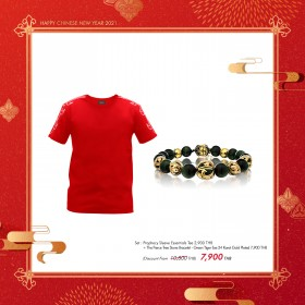 """Prophecy Sleeve Essentials Tee + The Fierce Tree Stone Bracelet - Green Tiger Eye 24 Karat Gold Plated """"Duo Set' - Special : Chinese New Year Online Exclusives"""