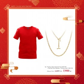 """Prophecy Sleeve Essentials Tee + Ake Ake Chain Necklace - 24 Karat Gold """"Duo Set' - Special : Chinese New Year Online Exclusives"""