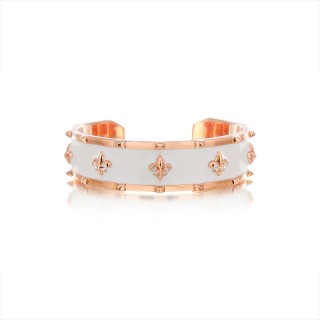The Apollo Fierce-de-lis Bangle - White Enamel with Pure Pink