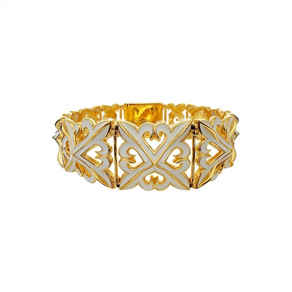 The Deadly Weapons Oversized Bracelet - 24 Karat Gold Plated with White Enamel