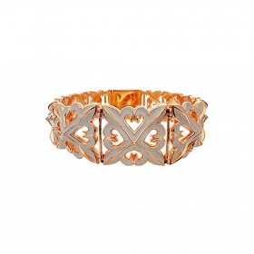 The Deadly Weapons Oversized Bracelet - Pure Pink Rose Gold with Grey Enamel