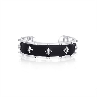 The Apollo Fierce-de-lis Bangle - Black Enamel with White Rhodium
