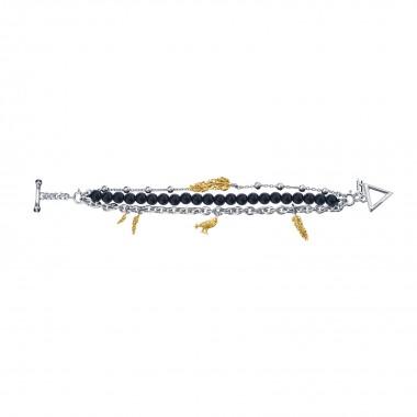 Raven Claw Multi-chain Bracelet - 24 Karat Gold Decorated  - Black Onyx