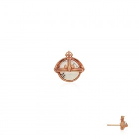 Prophet's Orb Stud Earring - Pure Pink - White Howlite