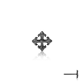 The Rituals Cross Stud Earring - Black Rhodium -