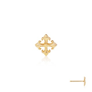 The Rituals Cross Stud Earring - 24 Karat Gold -