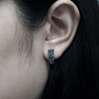 The Athena's Deadly Multi-Spikes Huggie  -   Black Rhodium Online Exclusive