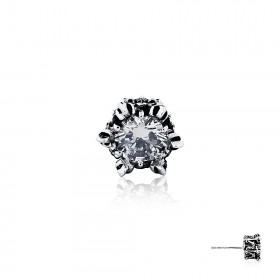 Armoury Crown Earring Stud - White Crystal -