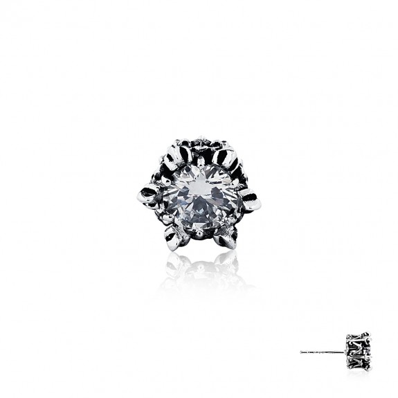 Armoury Crown Earring Stud - White Crystal