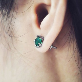 Gem of the Forbidden Forest Earring Stud - Jade Crystal - Oxidised -