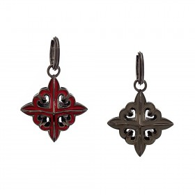 The Deadly Weapons Spikes Pendant - Red/Grey with Black Rhodium -
