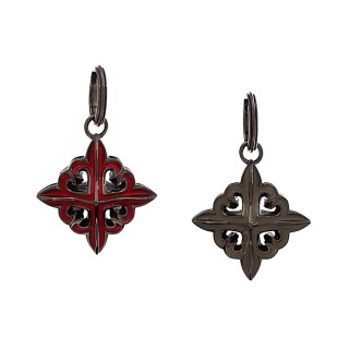 The Deadly Weapons Spikes Pendant - Red/Grey with Black Rhodium