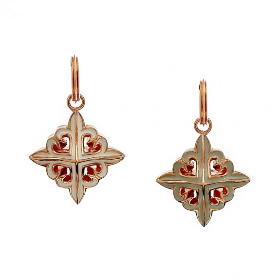 The Deadly Weapons Spikes Pendant - Grey/White with Pure Pink Gold -