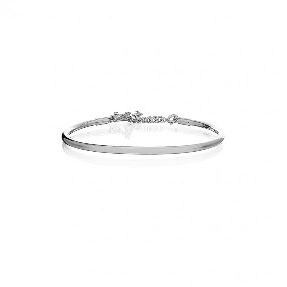 Prayer Bangle White Rhodium
