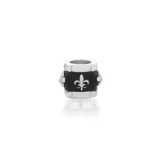 The Apollo Ring Bead  - White Rhodium with Black Enamel -
