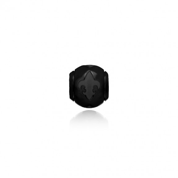 The Fierce-de-lis Debossed Ball Bead  - Black
