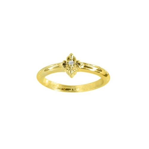 Little Motif Holy Star Ring - Rituals Cross With 24 Karat Gold And White Crystal -