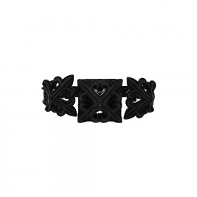 The Deadly Weapons Detachable Spikes Ring - Ultra Black Rhodium with Grey Enamel