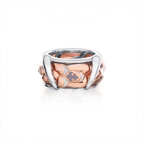 The Gorgon Fang Scale Spinner Ring - Pure Pink
