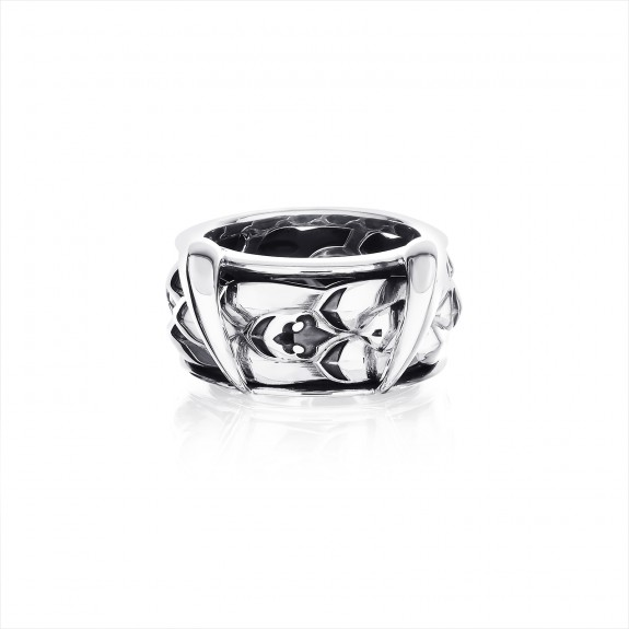 The Gorgon Fang Scale Spinner Ring - Oxidised -