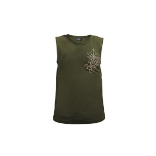 Trio Motifs Tank Tops -  Military Green