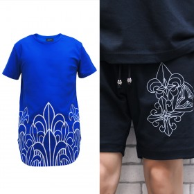 Prophecy Long Line Tee Royal Blue with Trio Motif Shorts  - Online Exclusive