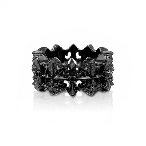 The Rituals Cross 2.0 Mini Ring - Graphite Edition with Black Crystals