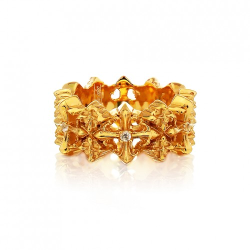 The Rituals Cross 2.0 Mini Ring - 24 Karat Gold Edition with White Crystals
