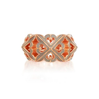 The Deadly Multi-Spikes Ring -  Pure Pink Gold with Grey Enamel