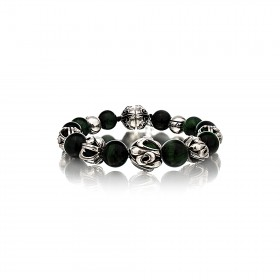 The Fierce Tree Stone Bracelet - Green Tiger Eye - Silver