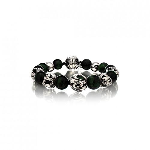 The Fierce Tree Stone Bracelet - Green Tiger Eye - Silver