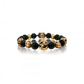 The Fierce Tree Stone Bracelet - Green Tiger Eye 24 Karat Gold Plated