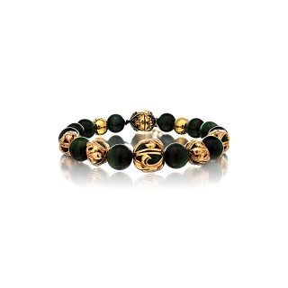 The Fierce Tree Stone Bracelet - Green Tiger Eye 24 Karat Gold Plated